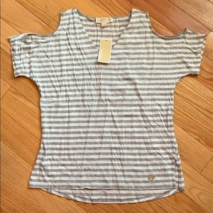 Michael Michael Kors cold shoulder striped vneck